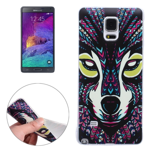 Ultra-thin Transparent TPU Protective Case for Samsung Galaxy Note 4 (Wolf)