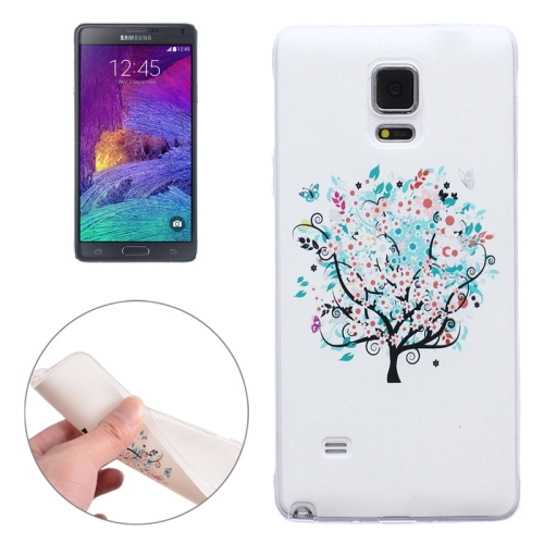 Ultra-thin Transparent TPU Protective Case for Samsung Galaxy Note 4 (Flower Tree)