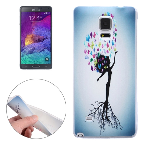 Ultra-thin Transparent TPU Protective Case for Samsung Galaxy Note 4 (Tree Girl)
