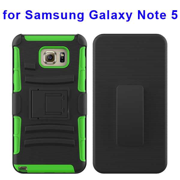 3 In 1 Pattern Belt Clip Rugged Kickstand Silicone and PC Hybrid Case for Samsung Galaxy Note 5 (Green)