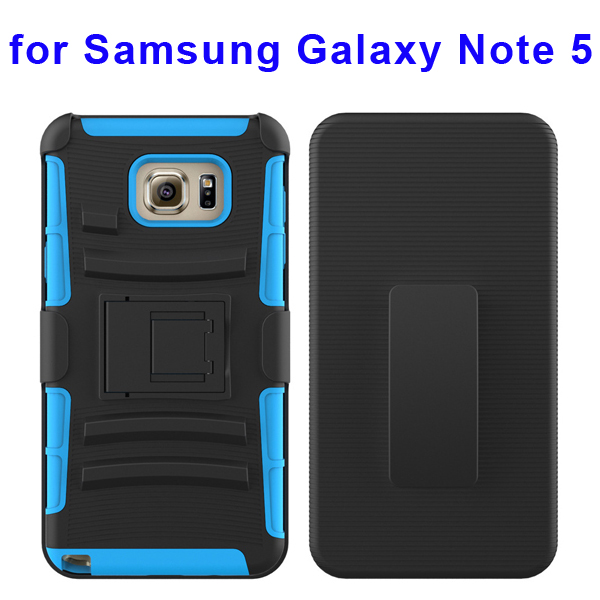 3 In 1 Pattern Belt Clip Rugged Kickstand Silicone and PC Hybrid Case for Samsung Galaxy Note 5 (Baby Blue)