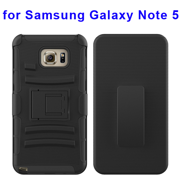 3 In 1 Pattern Belt Clip Rugged Kickstand Silicone and PC Hybrid Case for Samsung Galaxy Note 5 (Black)