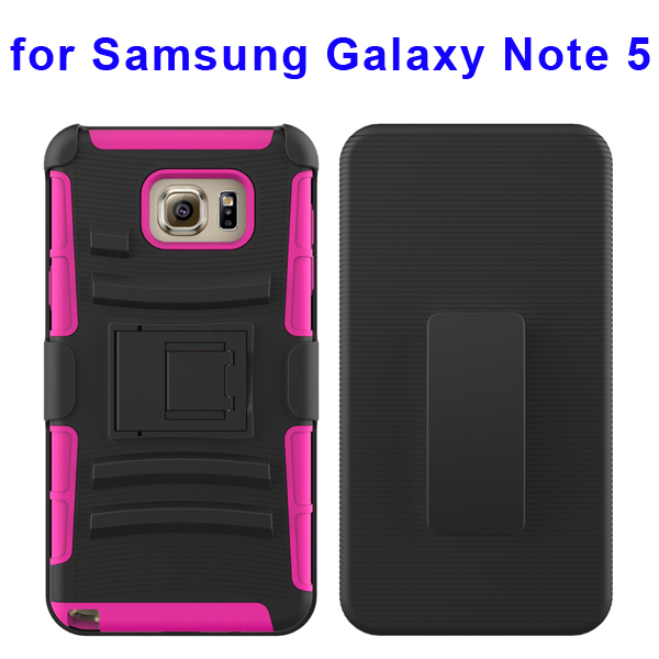 3 In 1 Pattern Belt Clip Rugged Kickstand Silicone and PC Hybrid Case for Samsung Galaxy Note 5 (Rose)