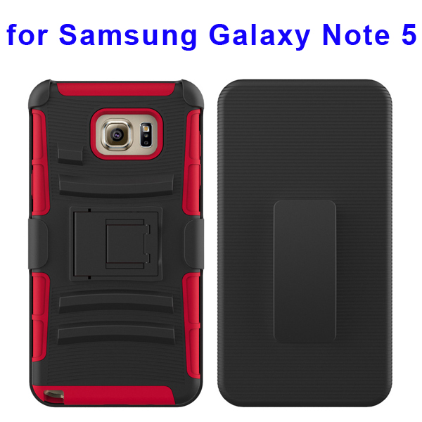 3 In 1 Pattern Belt Clip Rugged Kickstand Silicone and PC Hybrid Case for Samsung Galaxy Note 5 (Red)