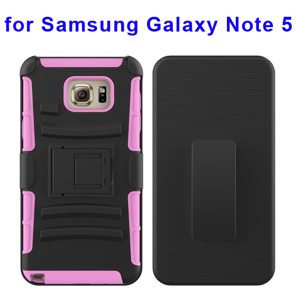 3 In 1 Pattern Belt Clip Rugged Kickstand Silicone and PC Hybrid Case for Samsung Galaxy Note 5 (Pink)