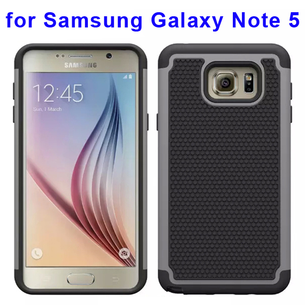 Football Texture Hybrid Silicone and PC Rugged Protective Case for Samsung Galaxy Note 5 (Grey)