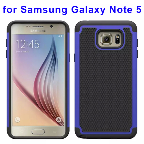 Football Texture Hybrid Silicone and PC Rugged Protective Case for Samsung Galaxy Note 5 (Dark Blue)