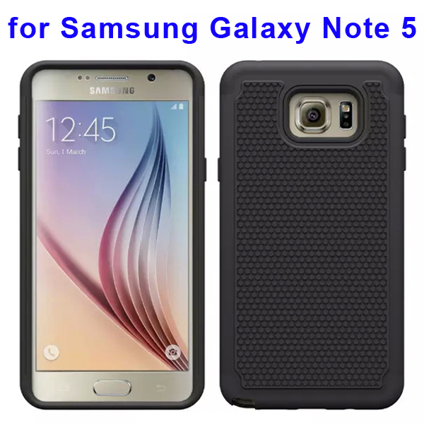 Football Texture Hybrid Silicone and PC Rugged Protective Case for Samsung Galaxy Note 5 (Black)