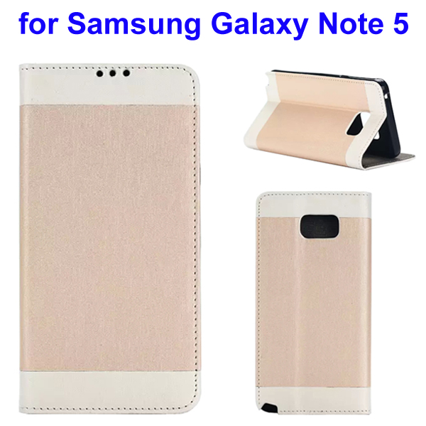 Two-tone Silk Texture Flip Leather Wallet Case for Samsung Galaxy Note 5 (Beige)