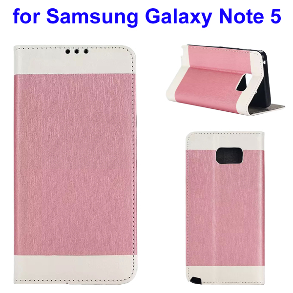 Two-tone Silk Texture Flip Leather Wallet Case for Samsung Galaxy Note 5 (Pink)