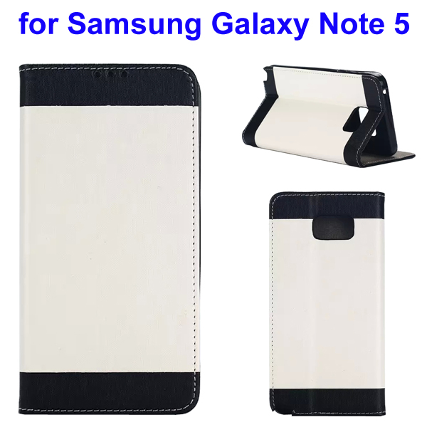 Two-tone Silk Texture Flip Leather Wallet Case for Samsung Galaxy Note 5 (White)