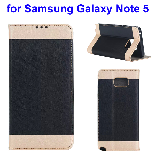 Two-tone Silk Texture Flip Leather Wallet Case for Samsung Galaxy Note 5 (Black)