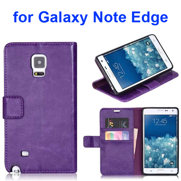 Wallet Flip Leather and TPU Back Case Cover for Samsung Galaxy Note Edge (Purple)
