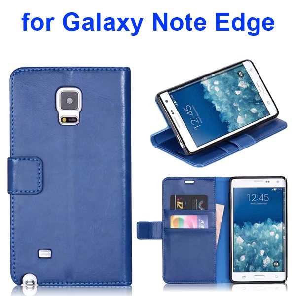 Wallet Flip Leather and TPU Back Case Cover for Samsung Galaxy Note Edge (Blue)