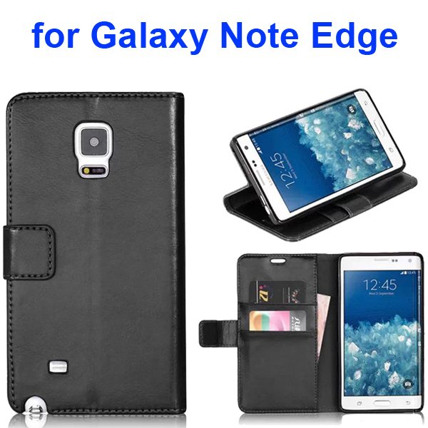 Wallet Flip Leather and TPU Back Case Cover for Samsung Galaxy Note Edge (Black)