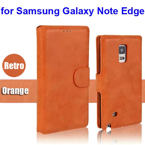 Retro Magnetic Frosted PU Wallet Case for Samsung Galaxy Note Edge(N9150) (Orange)