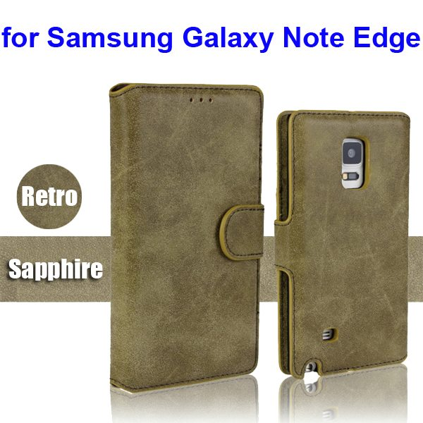 Retro Magnetic Frosted PU Wallet Case for Samsung Galaxy Note Edge(N9150) (Sapphire)