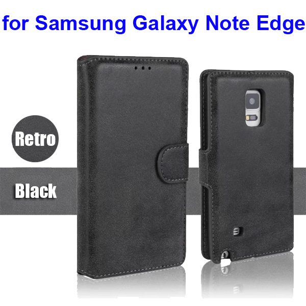 Retro Magnetic Frosted PU Wallet Case for Samsung Galaxy Note Edge(N9150) (Black)