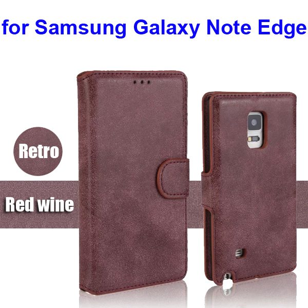 Retro Magnetic Frosted PU Wallet Case for Samsung Galaxy Note Edge(N9150) (Red Wine)