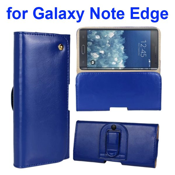Crazy Horse Texture Genuine Leather Case for Samsung Galaxy Note Edge(N9150) with Belt Clip (Dark Blue)