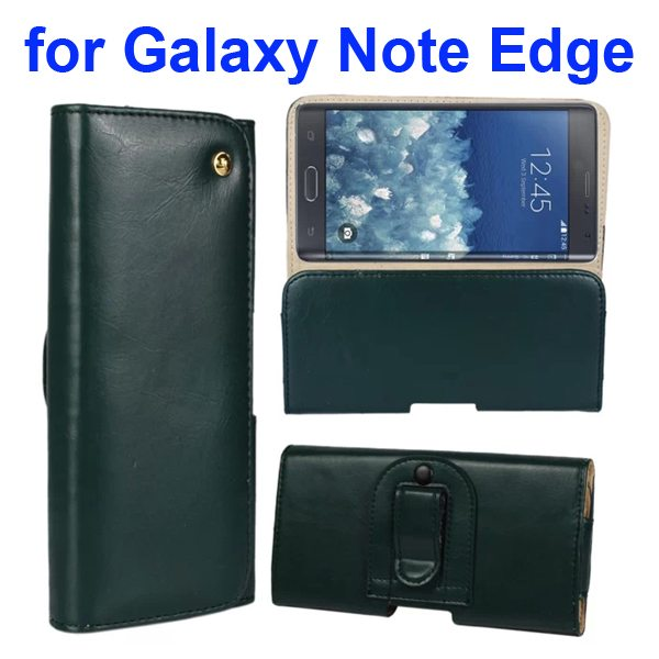 Crazy Horse Texture Genuine Leather Case for Samsung Galaxy Note Edge(N9150) with Belt Clip (Light Green)