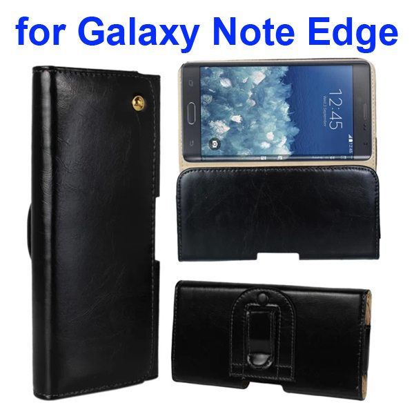 Crazy Horse Texture Genuine Leather Case for Samsung Galaxy Note Edge(N9150) with Belt Clip (Black)