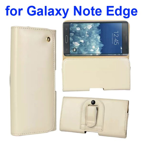 Crazy Horse Texture Genuine Leather Case for Samsung Galaxy Note Edge(N9150) with Belt Clip (White)