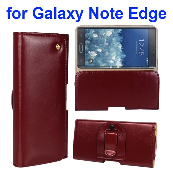 Crazy Horse Texture Genuine Leather Case for Samsung Galaxy Note Edge(N9150) with Belt Clip (Red Wine)
