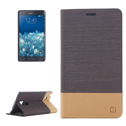 Canvas Leather Wallet Flip Stand Case for Samsung Galaxy Note Edge with Card Slot (Coffee)