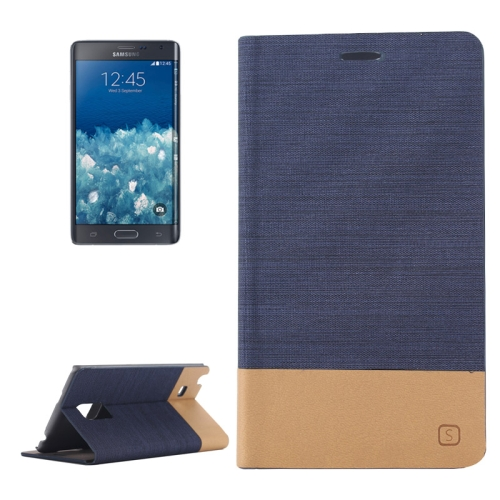 Canvas Leather Wallet Flip Stand Case for Samsung Galaxy Note Edge with Card Slot (Dark Blue)