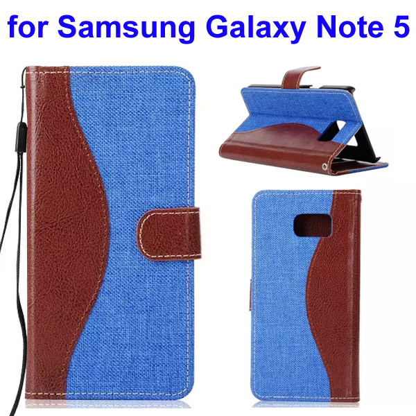 Mix Color Denim Texture Wallet Style Flip Leather Case for Samsung Galaxy Note 5 with Lanyard (Blue)