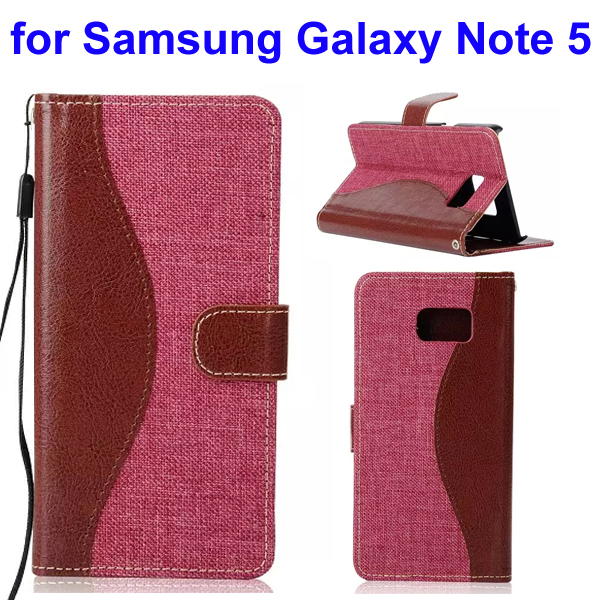 Mix Color Denim Texture Wallet Style Flip Leather Case for Samsung Galaxy Note 5 with Lanyard (Red)