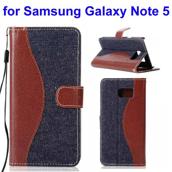 Mix Color Denim Texture Wallet Style Flip Leather Case for Samsung Galaxy Note 5 with Lanyard (Dark Blue)