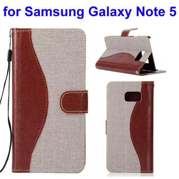 Mix Color Denim Texture Wallet Style Flip Leather Case for Samsung Galaxy Note 5 with Lanyard (Beige)