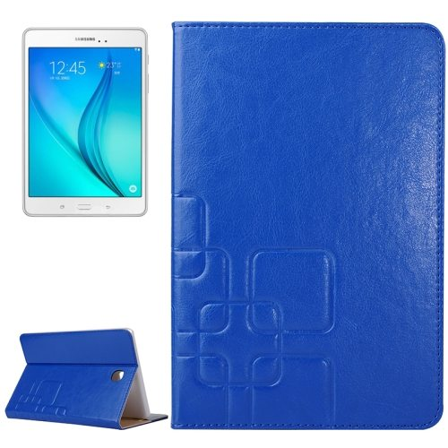 Crazy Horse and Lattice Texture Leather Case for Samsung Galaxy Tab A 8.0 / T350 with Holder & Card Slots (Dark Blue)