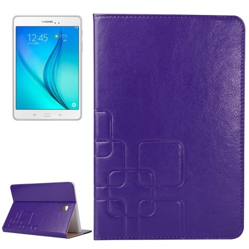 Crazy Horse and Lattice Texture Leather Case for Samsung Galaxy Tab A 8.0 / T350 with Holder & Card Slots (Purple)