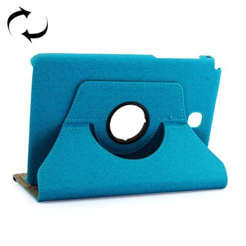 360 Degree Rotating Leather Protective Case for Samsung Tab A 8.0 / P350 with Holder & Card Slots & Elastic Band (Blue)