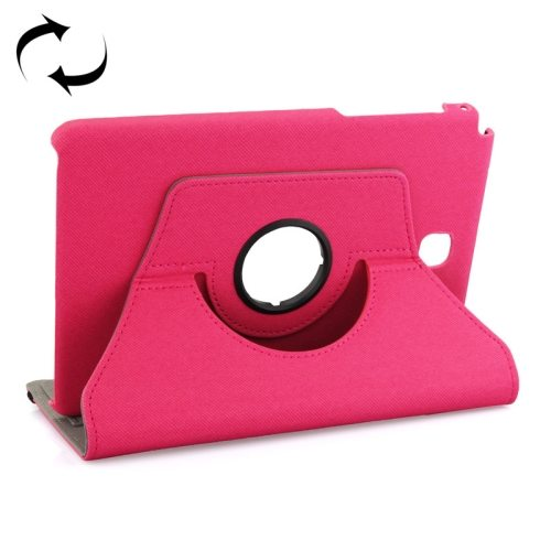 360 Degree Rotating Leather Protective Case for Samsung Tab A 8.0 / P350 with Holder & Card Slots & Elastic Band (Rose)