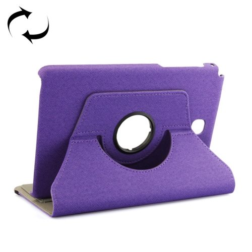 360 Degree Rotating Leather Protective Case for Samsung Tab A 8.0 / P350 with Holder & Card Slots & Elastic Band (Purple)