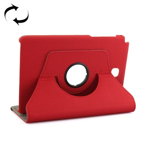 360 Degree Rotating Leather Protective Case for Samsung Tab A 8.0 / P350 with Holder & Card Slots & Elastic Band (Red)