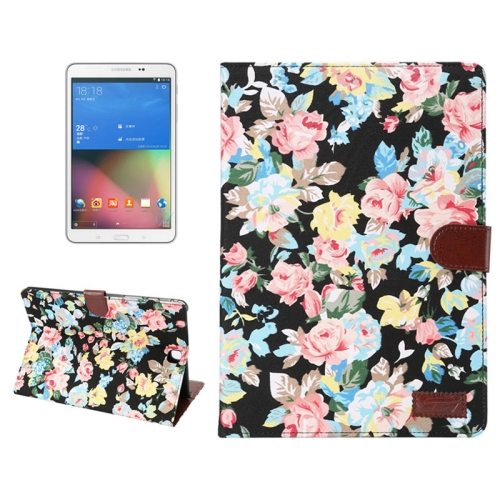 Flower Cloth Leather Flip Case for Samsung Galaxy Tab A 8.0 with Card Slots and Photo Slot (Black)