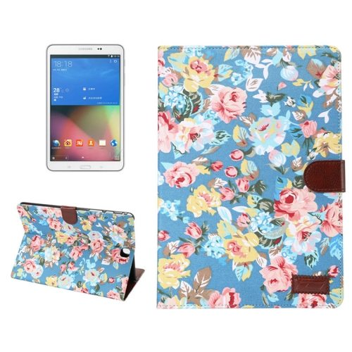 Flower Cloth Leather Flip Case for Samsung Galaxy Tab A 8.0 with Card Slots and Photo Slot (Blue)