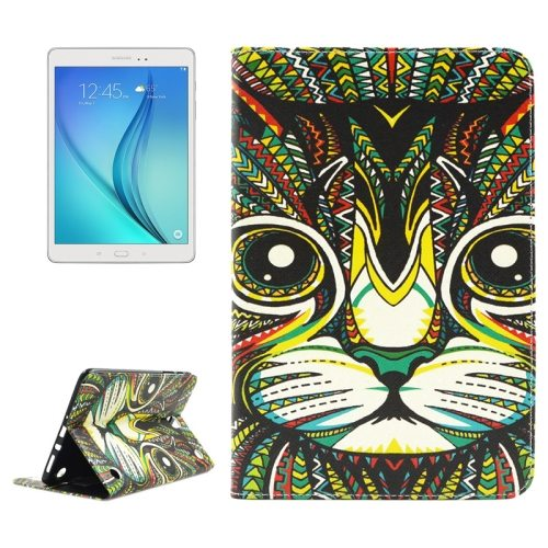 ENKAY Colorful Pattern Flip Stand Leather Wallet Case for Samsung Galaxy Tab A 8.0 T350 (Cat)