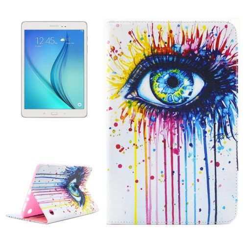 ENKAY Colorful Pattern Flip Stand Leather Wallet Case for Samsung Galaxy Tab A 8.0 T350 (Eyes)