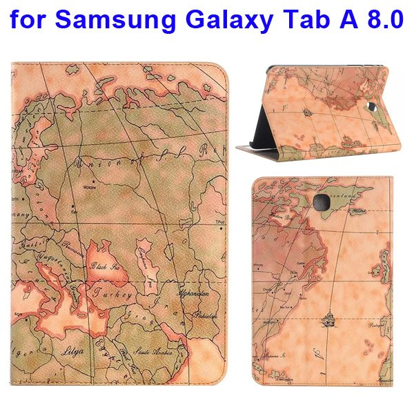 Map Pattern Flip Stand Leather Case for Samsung Galaxy Tab A 8.0 T350 with Card Slots (Brown)
