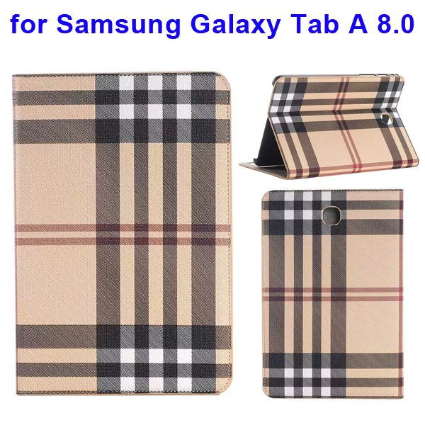 Plaid Pattern Leather Case for Samsung Galaxy Tab A 8.0 with Holder & Card slots (Beige)
