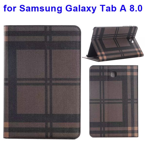 Plaid Pattern Leather Case for Samsung Galaxy Tab A 8.0 with Holder & Card slots (Brown)