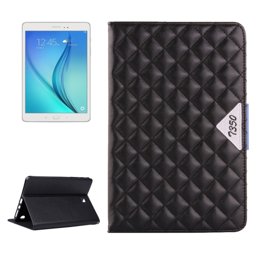 Diamond Pattern Flip Leather Case for Samsung Galaxy Tab A 8.0 with Card Slots and Holder (Black)