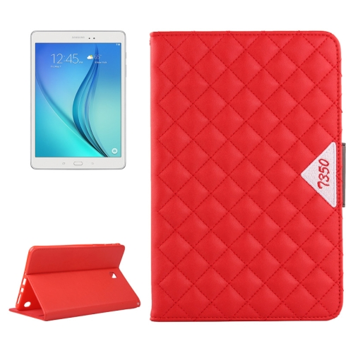Diamond Pattern Flip Leather Case for Samsung Galaxy Tab A 8.0 with Card Slots and Holder (Red)