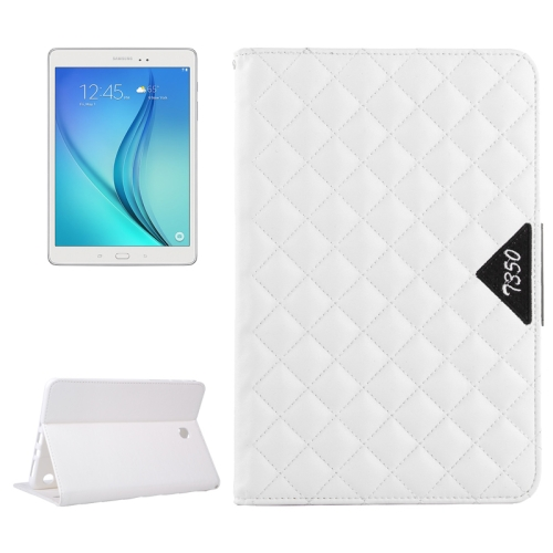 Diamond Pattern Flip Leather Case for Samsung Galaxy Tab A 8.0 with Card Slots and Holder (White)